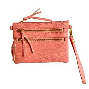 Handbags - Coral peach wristlet faux leather